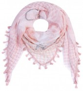 T-A5.1 S001-004 Scarf with Stars-Hearts-Peace-Studs and Tassels 140x140cm Pink