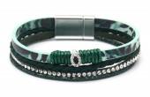 B-B11.2 B1633-010K PU Bracelet Leopard with Crystals Green