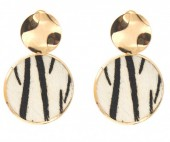 E-C4.3 E006-005 Earrings with Animal Print Gold-Beige 4x2,5 cm