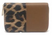 Q-P7.1 WA420-002 PU Wallet with Leopard print 15x10cm Brown