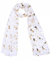 X-B3.2 S311-002 Scarf with Golden Shiny Stars and Unicorns White