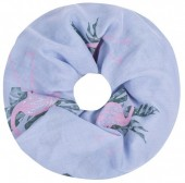 SC1801-009 Scarf with Glitters and Flamingo Col Blue