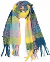 Y-C2.2  SCARF408-003E Soft Checkered Scarf with Fringes 180x47cm Multi Color