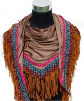 L-E2.1  Luxury Scarf with Suedine Fringes 190x75cm