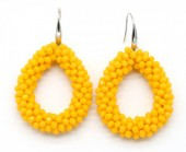 A-A5.5 E007-001 Facet Glass Beads 4.5x3.5cm Yellow