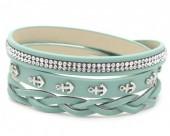 H-E17.1 B016-003 Wrap Bracelet Crystals-Anchors 56-60cm Light Blue
