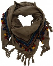 X-D8.1 Bohemian Style Scarf with Tassels 180x90cm Brown