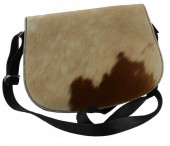 S-B1.4 Black Leather Cross Body Bag with Mixed color Cow Hide - Every Bag is Unique 27x20x10cm