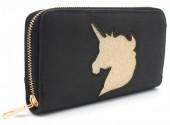Q-O7.2 WA117-009 PU Wallet with Glitter Unicorn 19x10cm Black