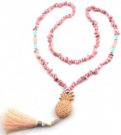 I-C10.1 N021-011 Long Stone Necklace with Tassel and Pineapple 85cm