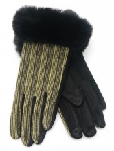 R-L2.1 GLOVE403-069E Gloves Rib Fabric and Faux Fur Black-Brown
