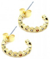 A-B18.4  E1929-004G Earrings with Multi Color Cubic Zirconia Gold