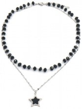 C-F9.1 N2020-002 S. Steel Necklace Glassbeads and 20mm Star Silver