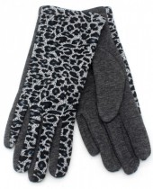 A-A24.1 GL209-001 Gloves with Leopard Print Grey