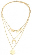 A-D19.4  N003-002 Stainless Steel Necklace 3 layers Moons and Coin Gold