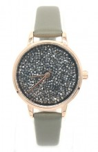 B-C22.2  W523-008B Quartz Watch with PU Strap and Crystals Green