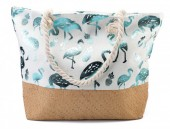 BAG217-004 Beach Bag with Wicker and Metallic Flamingos and Pineapples 54x40cm White-Blue