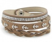 H-E15.1 B016-003 Wrap Bracelet Crystals-Anchors 56-60cm Brown