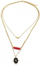 C-A16.1 N2020-005G S. Steel Layered Necklace 15mm charm Gold