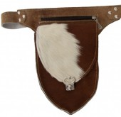 Leather Fannypack-Beltbag with Cowhide 22x15x8cm Mixed Colors