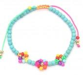 C-B5.5 B1561-046 Bracelet Glass Beads Flowers Blue-Multi