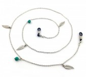 C-D15.1 GL180 Sunglass Chain with Turqoise Beads and Feathers