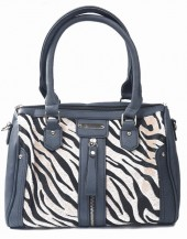 Y-D4.3 BAG418-001 PU Bag with Zebra Print Hide 30x22x11cm Dark Grey