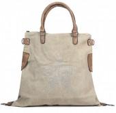 Q-G6.3  BAG017-013 Khaki Canvas Bag with Studded Star XL 44x40x16cm