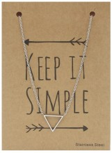 N1759-005 Stainless Steel Necklace Thin Triangle Silver