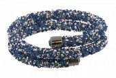 F-D21.1   Double Crystal Bangle B001ST-002 Silver Blue