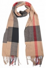 T-J6.2 SCARF406-001A Checkered Scarf with Fringes 170x31cm Brown