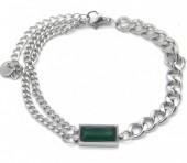 A-F8.2 B014-001S S. Steel Layered Bracelet with Stone