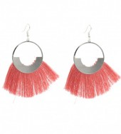 E-D16.1 E222-004 Earrings With Tassels 7x4cm Pink-Silver