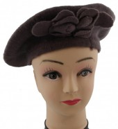 S-F3.3 Trend Woolen Baret With Flowers Brown