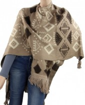 Y-F3.5 Scarf-Poncho with Printing and Fringes Brown