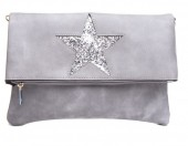 Q-E8.2 BAG012-009 PU Flip Over over with Glitter Star 28x21cm Grey