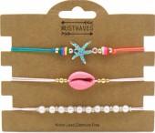 G-A6.1 B2001-054A Bracelet Set 3pcs Starfish-Pearls-Shell Pink