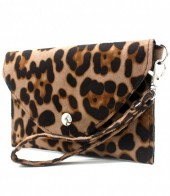 WA220-002 Clutch with Panther Print 17x10cm Light Brown