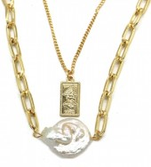 C-D15.3  N426-013G Layered Necklace Chain with Pearl Gold