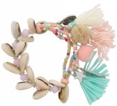A-F6.2 B009-014 Elastic  Bracelet with Shells Tassels and Stars