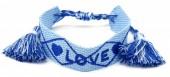 C-D18.5 B2030-007 Woven Bracelet LOVE Blue