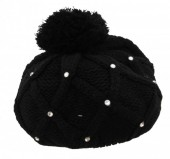 R-F6.1 Beanie with Crystals Black