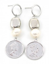 A-A8.3 E304-035 Earrings with Coin and Freshwater Pearl 5.5x1.5cm Silver
