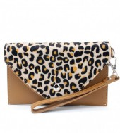 R-J2.1  BAG1202-020S PU Clutch with Leopard Print 17x10cm Brown
