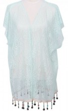 S-E1.2 Beach Poncho with Lace and Coins Blue
