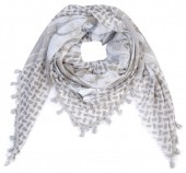 I-A3.1 S001-004 Scarf with Stars-Hearts-Peace-Studs and Tassels 140x140cm Brown