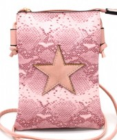 T-P2.2 BAG326-001 PU Festival Crossbody Bag Snake with Star 20x15cm Pink