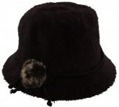 X-F1.1 Woolen Hat with Flower and Fake Fur Pompon Dark Brown