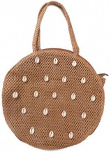 Y-A5.2 BAG533-006C Woven Straw Bag with Shells 35x8cm Brown