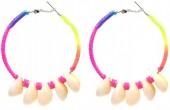 E-F18.1 E536-072A E536-072A Earrings 5.5cm Creoles Multi-Pink
